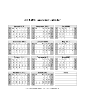 Print Calendar 2013 on Printable 2012 2013 Academic Calendar