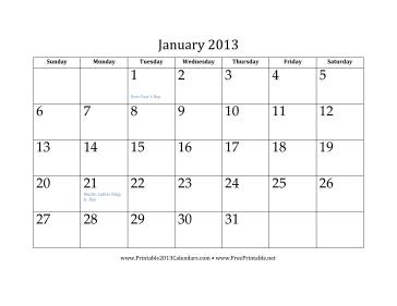January 2013 Calendar Calendar
