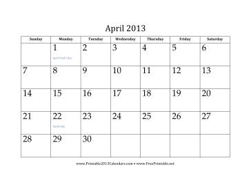 April 2013 Calendar Calendar