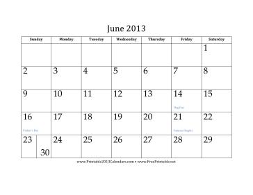 June 2013 Calendar Calendar