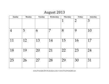 August 2013 Calendar Calendar