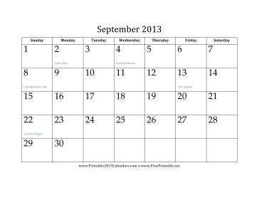 September 2013 Calendar Calendar