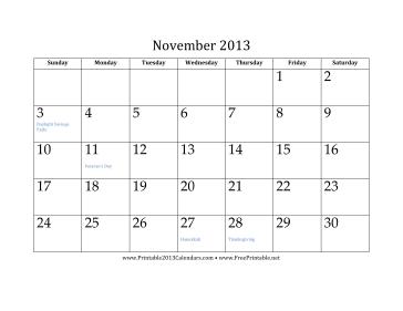 November 2013 Calendar Calendar