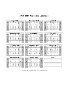 2013-2014 Academic Calendar Calendar