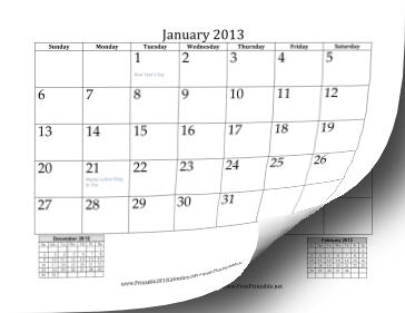 2013 Calendar with Previous and Next Month Calendar
