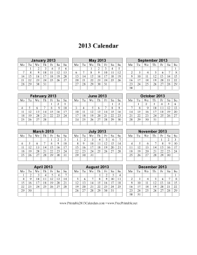 2013 Calendar on one page (vertical, week starts on Monday) Calendar
