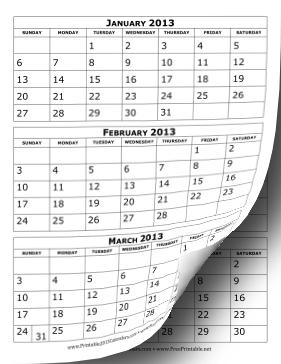 2013 Calendar Three Months per Page Calendar