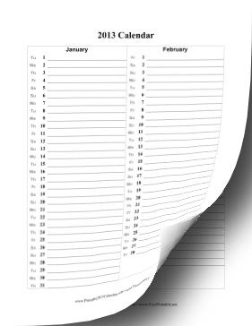 2013 Vertical List Calendar Calendar