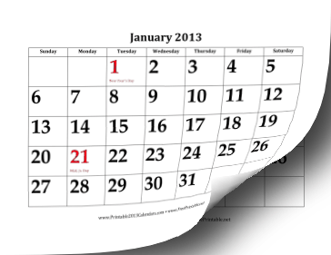 2013 Calendar with Large Dates Calendar