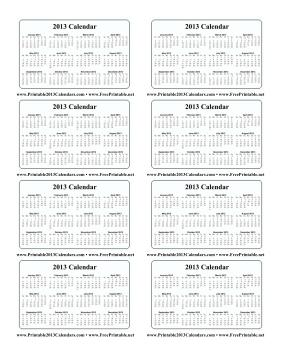 2013 Wallet Calendar Calendar