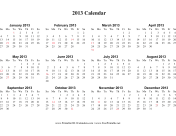 Single page (horizontal, holidays in red)