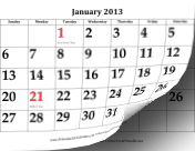 2013 Calendar with Large Dates